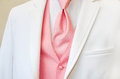 White tuxedo with pink tie and vest accenting a Stock Image