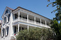 White two story with veranda classic southern home Stock Photos