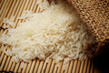 White uncooked rice in small sack Royalty Free Stock Photo