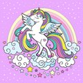 White unicorn with a rainbow mane. On a lilac background. Cute fantasy animal. Vector