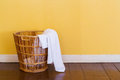 White used towels in wicker basket Royalty Free Stock Photo