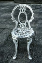 White Vintage Chair On Gray Ba...