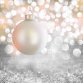 White Vintage Christmas Ornament Over Grey Grunge Royalty Free Stock Photo