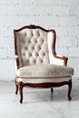 White vintage luxury armchair with clipping path Royalty Free Stock Photography