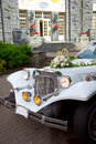 White vintage wedding car Stock Photo