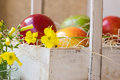 White vintage wood box with red yellow apples, field flower, basket with fruits, garden outdoors Royalty Free Stock Photo
