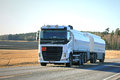 White Volvo FH Fuel Tank Truck on Spring Evening Royalty Free Stock Photo