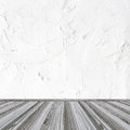 White wall and wood floor background Royalty Free Stock Images