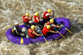 White water rafting a group of men and women with a guide on the patate river ecuador Stock Photography