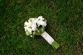 White wedding bouquet lying on green grass Stock Images