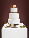 White wedding cake big decorated with flowers Stock Photos