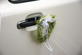 White wedding car decoration Stock Image