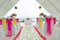 White wedding chapel decorated with beautiful flowers Royalty Free Stock Photo