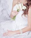 White wedding dress detail shop Stock Images