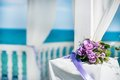 White wedding flower bouquet at the beach Stock Photography