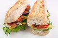 White Wheat Baguette Sandwich Royalty Free Stock Photo