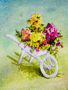 White wheelbarrow with flowers a holds pink peach yellow and red in an acrylic painting Stock Image