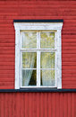 White window on red wall old wooden Royalty Free Stock Images