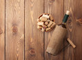 White wine bottle, bowl with corks and corkscrew. View from abov Royalty Free Stock Photo