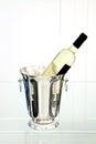 White wine bottle in ice bucket Royalty Free Stock Photo