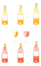 White wine bottles pack a vector illustrations of and reddish with blank labels and two coloured glasses in the center Stock Photos