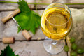 White wine glass of on top of the background of stone corkscrew and cork vine leaves and grapes Stock Image