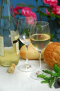 White wine with glasses Royalty Free Stock Photo