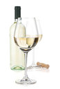 White wine glasses, bottle and corkscrew Royalty Free Stock Photo