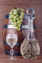 White wine with grapes Stock Photography