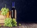 White wine and grapes Royalty Free Stock Photo