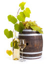 White wine with old barrel and grapes in bottle glass leaves Stock Photography