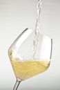 White wine pouring into a glass isolated on background Royalty Free Stock Images