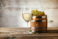 White wine still life with fresh grapevine Stock Image