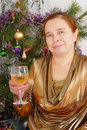 White wine and the woman. Stock Image