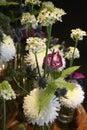 White winter flower dream with Chrysanthemum, Anturia, Fern, Thistle, beautiful Flower Arrangement Royalty Free Stock Photo