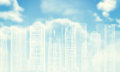 White wire frame buildings bly sky with clouds and sun as backdrop Royalty Free Stock Image
