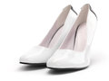 White womens shoes closeup of a pair of high heel on background Royalty Free Stock Images