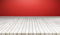 White wood floor panels with red wall. texture background. also used for display or montage your products