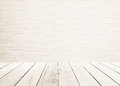 White wood planks floor with wood wall Interior and white wooden floor sepia tones. Royalty Free Stock Photo