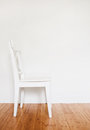 White wooden chair empty interior with Royalty Free Stock Photography