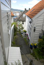 White wooden houses in old part of bergen, norway Royalty Free Stock Photo