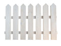 White wooden rough painted decorative cottage garden fence