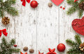 White wooden table with christmas tree and decorations top view Royalty Free Stock Photo