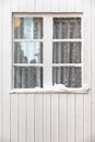 White wooden window vintage transom at a wall in winter Stock Photo