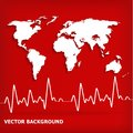 White world map and Heart Beats Cardiogram on Red background Stock Photography