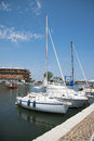 White yachts in the port waiting. Misano Adriatico, Emilia Romagna, Italy