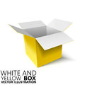 White and yellow open box 3D/ vector illustration
