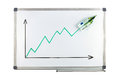 Whiteboard with ascending 100 euro note Royalty Free Stock Photo