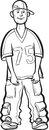 Whiteboard drawing - cartoon standing hip-hop style young man Royalty Free Stock Photo
