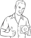 Whiteboard drawing - cartoon young man with compact disc Royalty Free Stock Photo